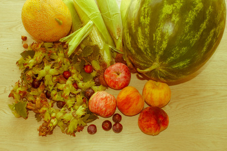 Group Of Fresh Summer Fruits On Wood Table. Mix of Fresh Fruits on wood table. healthy eating - Retro color Standard-Bild