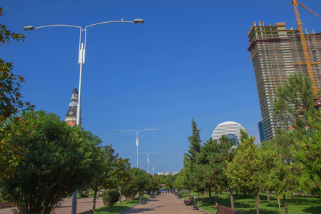 Batumi city new boulevard promenade coastline situated not far from Batumi singing fountains. walking street, new buildings