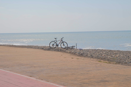 bicycle beside road in Batumi. bicycle near the sea in Batumi