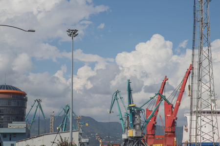 Cargo Cranes in Industrial Port. Sea port, cargo crane expects the ship for loading. Cranes in the harbour