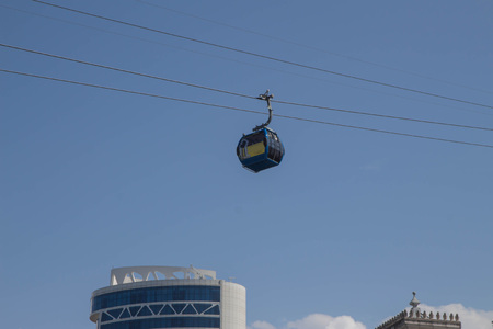 Cable way in Batumi. Ground station and gondola in its way to mountain. Funicular Cable Railway