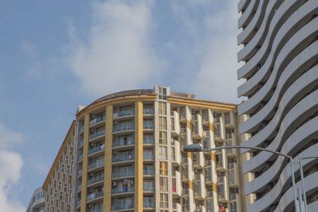 Common modern apartment high-rise buildings. apartment building Batumi Stock Photo