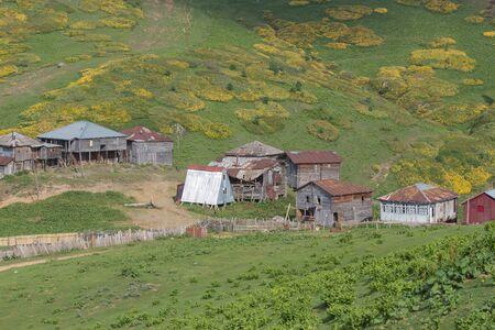 Mountain village in the mountains Georgia. Old Georgian wooden houses among the mountain Stock fotó