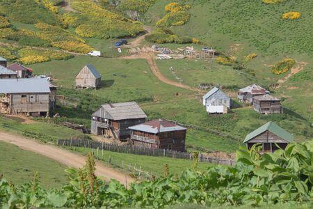 Mountain Village on a Sunny Summer day. inhabited village in Georgia. Caucasus