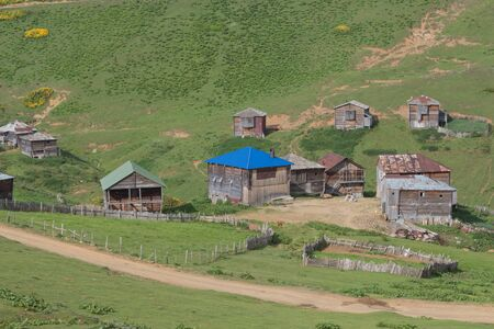 Mountain Village on a Sunny Summer day, small village in Georgia. inhabited village in Georgia. Caucasus