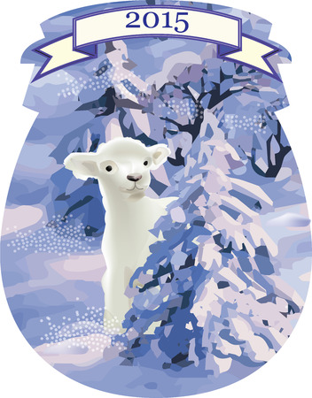 lamb coming out of the snow forest Vector