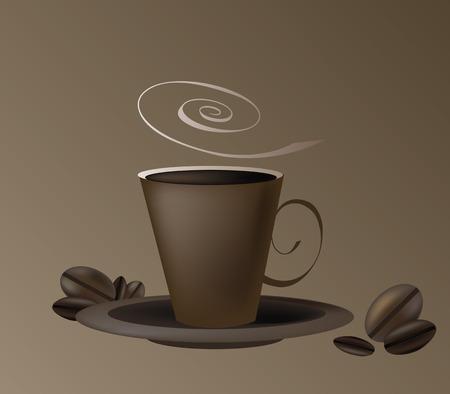 chicchi di caff�: Tazza di caff� e piattino con chicchi di caff�