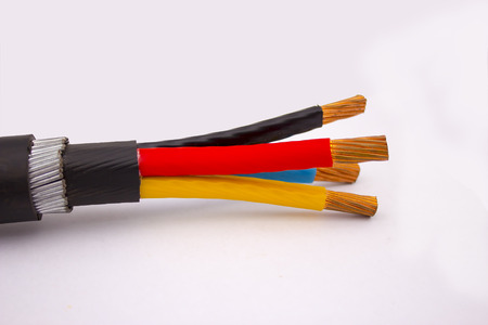 three phase: three phase cable on isolated white background