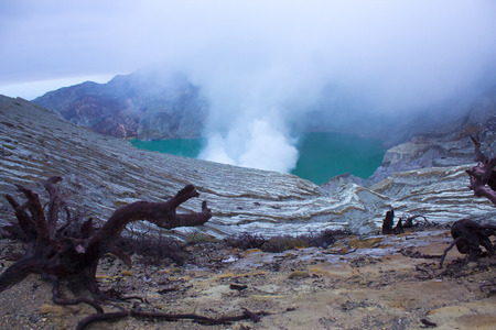 sulfur: kawah ijen volcano with sulfur smoke
