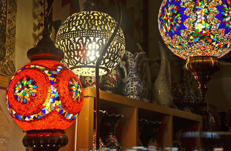 jugs: Colourful Turkish lamps and ceramic jugs
