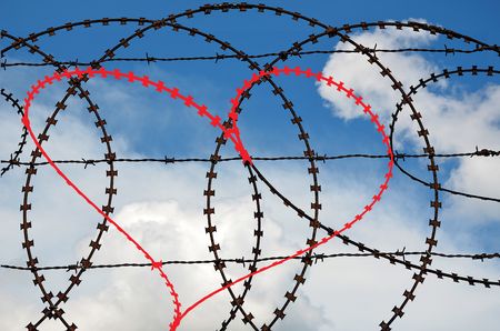 gaol: Natural heart shape (digitally coloured red) in a barbed wire fence on sky background. Love, freedom, peace and compassion concepts Stock Photo