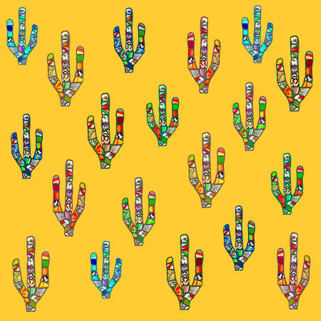 western theme: Colorful abstract mosaic cactus digital illustration on deep yellow background. Mexican or southwestern American style concept.