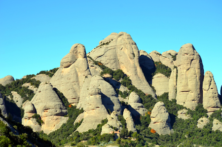 turrets: Limestone turrets of the mountains of Montserrat, Catalonia, Spain