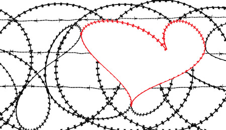 digitally concepts: Natural heart shape (digitally coloured red) in a barbed wire fence isolated on white background. Love, freedom, peace, hope and compassion concepts. Stock Photo