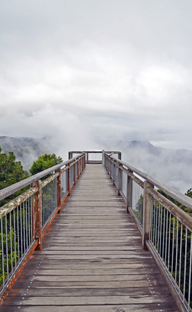 Ethereal Wooden walkway bridge leading into low cloud above mountains in Dorrigo National Park, New South Wales, Australia