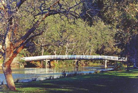 rickety: Historic wooden Varney Bridge across Kangaroo Creek at Audley, Royal National Park, Sydney, Australia