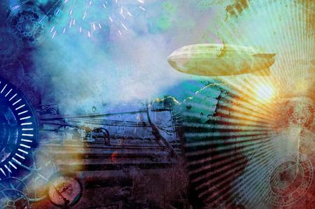 歯車、飛行船、時計、花火、蒸気エンジン要素でカラフルなビンテージ スチーム パンクなデザインの背景。テクスチャ グランジ デジタル写真のイラスト。