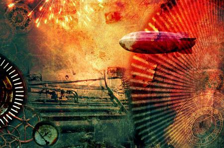 Vintage steampunk design background with airship, clocks, fireworks and steam engine elements. Grunge textured digital photo illustration. Stock Photo