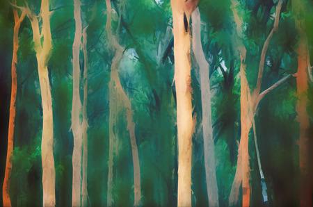 Abstract Australian Eucalyptus and Angophora forest background. Digital photo manipulation, soft blur. Blue green tones. Archivio Fotografico