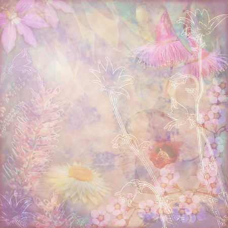 faded: Faded vintage floral background with Australian flora including grevillea, flannel flowers, paper daisies, Sturts Desert Rose and gumtree blossoms. Photo montage on textured background. Copy space for text. Stock Photo