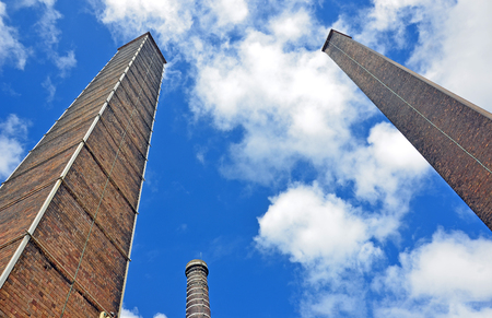 tall chimney: Historic towering chimney stacks of the old Bedford Brick Works, Sydney Park, St Peters, Australia