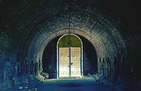 Historic abandoned tunnel and rows of brick making kilns of the old Bedford Brick Works, Sydney Park, St Peters, Australia. Moody toned image. Stock Photo