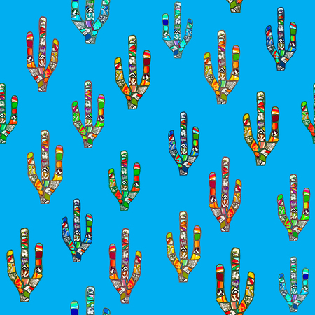 southwest: Seamless colorful abstract mosaic cacti pattern on a blue background. Mexican or southwestern American style design.