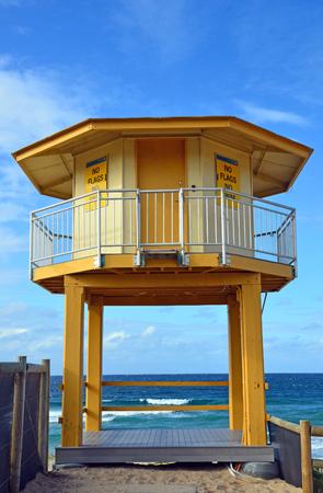 Yellow lifesavers hut on Wanda Beach, Cronulla, New South Wales, Australia.