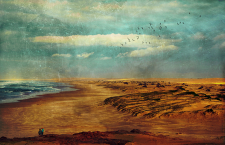 Wild, stormy and moody winters day on Stockton Beach, New South Wales, Australia. Grunge textured image. Stock Photo