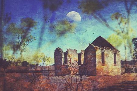 Historic abandoned St Marys Church ruins. Grunge textured digital photo manipulation. Yarra, near Goulburn, NSW, Australia