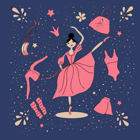 image of a ballerina girl in a pink dress and items of ballet clothing on a blue background