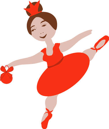 little girl ballerina in a red dress and Pointe shoes with a Christmas ball