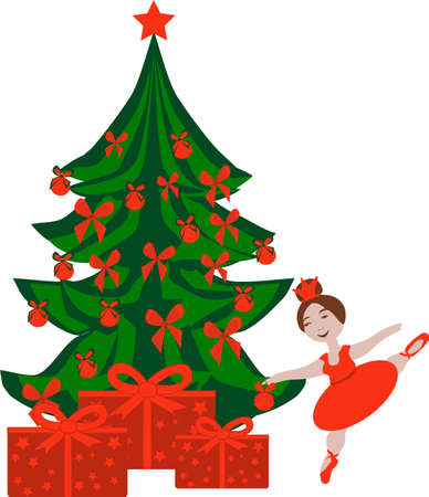 Christmas tree with decorations and gifts and a ballerina in a red dress