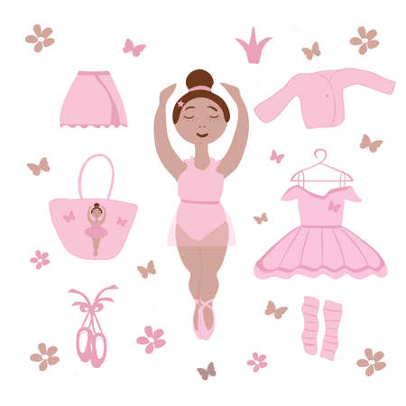 vector image of a little girl ballerina and ballet clothes Vecteurs