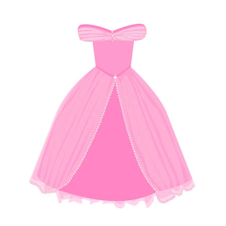 vector image of pink princess dress for little girl on a white background