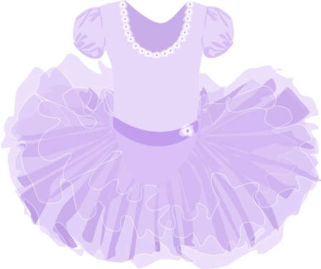 vector image of a childrens lush ballet tutu in lilac color on a white background