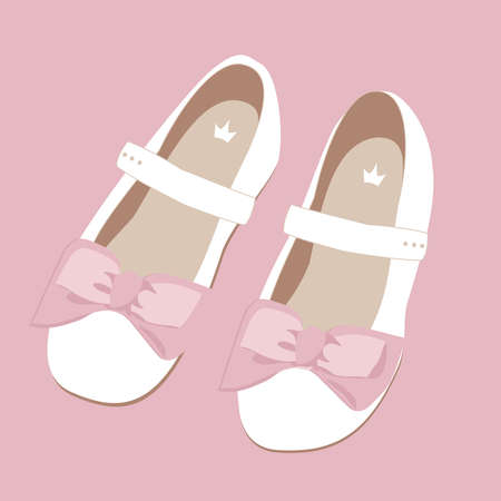 vector image of childrens white shoes with a pink bow for a little girl on a pink background