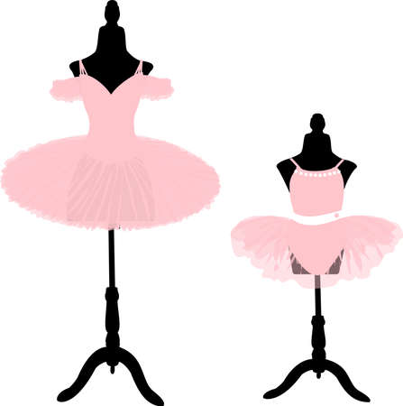 vector image of two ballet pink tutus on tailors mannequins