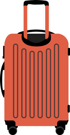 vector image of an orange suitcase on wheels on a white background Иллюстрация