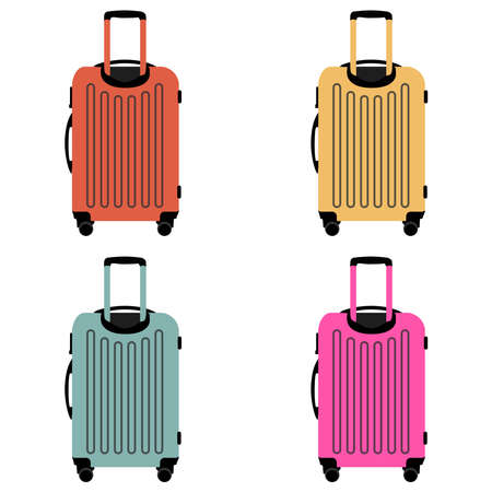 vector set of their four suitcases on wheels in different colors on a white background