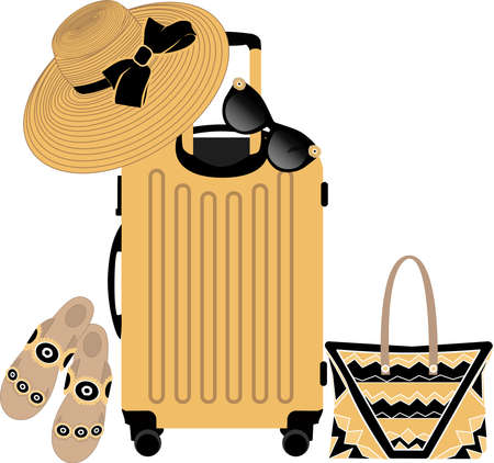 vector set of things for travel, including a suitcase, a hat with a wide brim, sandals, sunglasses in yellow and black on a white background Иллюстрация