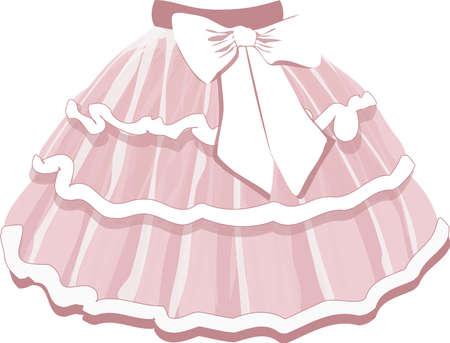 vector image of a childrens puffy tutu skirt of a ballerina in pink on a white background