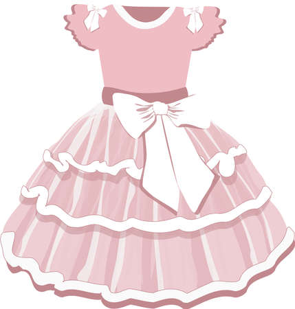 vector image of a ballerinas baby puffy tutu dress in pink on a white background
