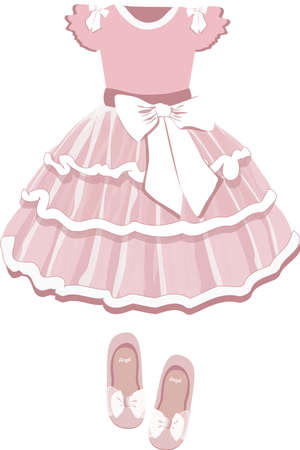 vector image of a childrens puffy ballerina tutu dress and shoes in pink on a white background