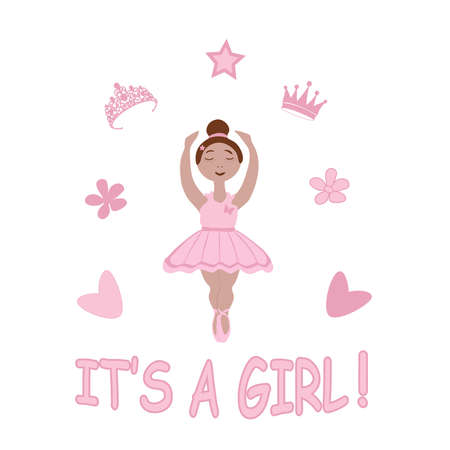 vector image of a little ballerina girl in a pink tutu and the inscription its a girl with a decor on a white