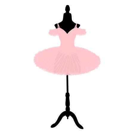 vector image of a pink tutu on a tailors dummy