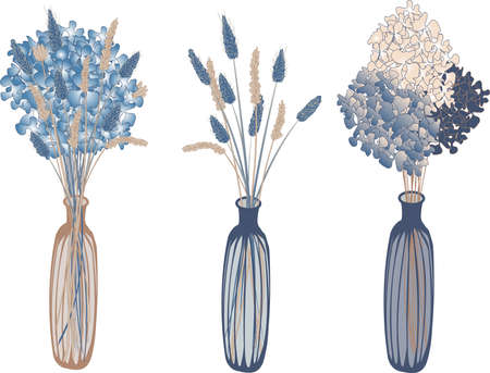 vector set of three narrow vases with flowers and dried flowers in boho style in blue and beige tones on a white background Vector Illustration