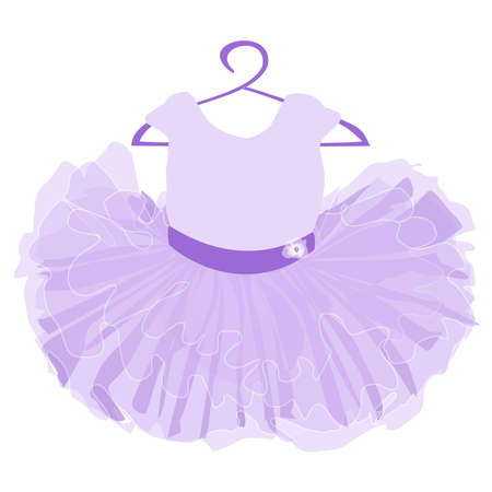 vector image of a childrens puffy tutu dress in purple on a white background