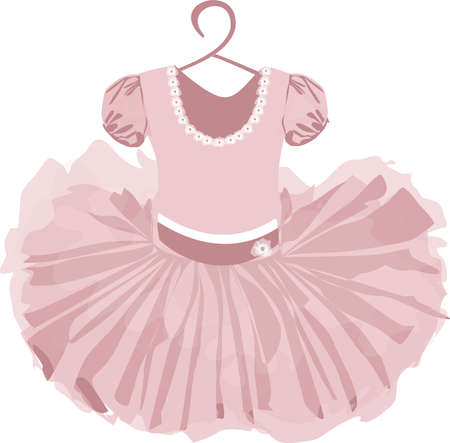 vector image of a childrens puffy tutu dress in pale pink tones with a hanger on a white background Vettoriali