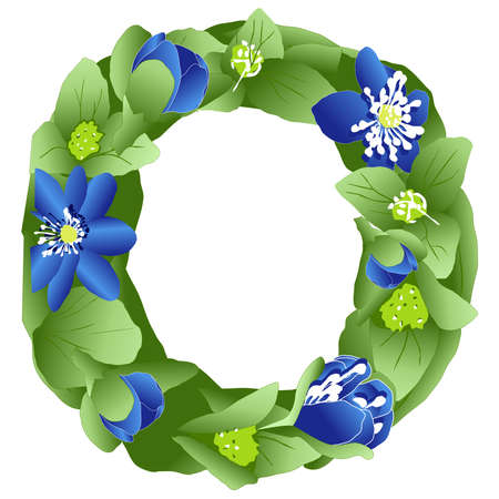 vector image of the letter O of the English alphabet made in the form of flowers and leaves of liverwort, in bright blue and green colors